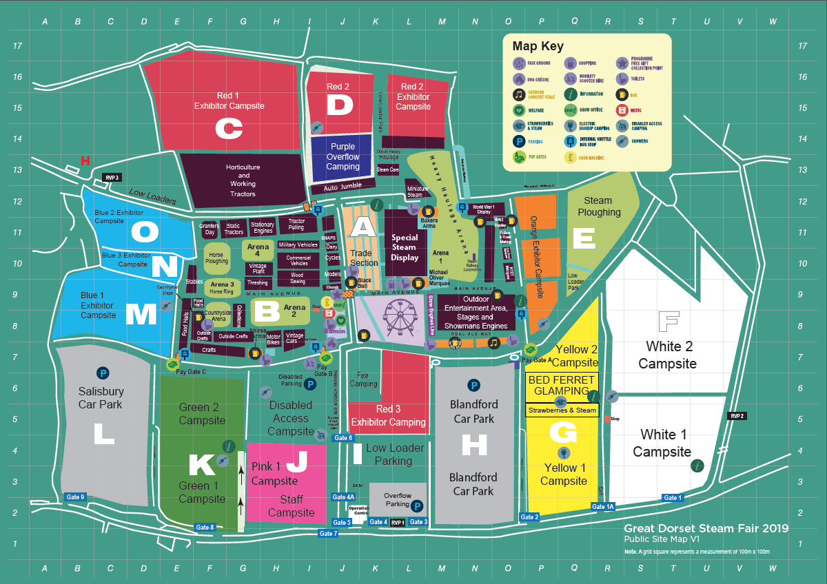 Great Dorset Steam Fair 2019 Showground Map